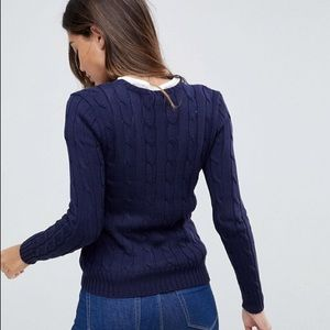 Polo Navy Blue Cable Knit Crewneck Sweater